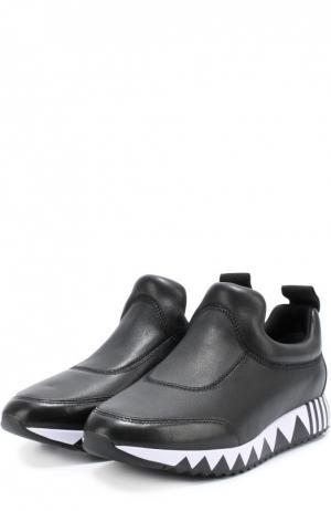 Кожаные кроссовки на подошве с принтом Tory Burch. Цвет: черный