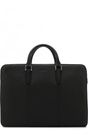 Кожаная сумка для ноутбука с плечевым ремнем Kiton. Цвет: черный