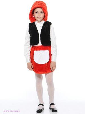 Карнавальный костюм Красная Шапочка Батик. Цвет: красный, черный