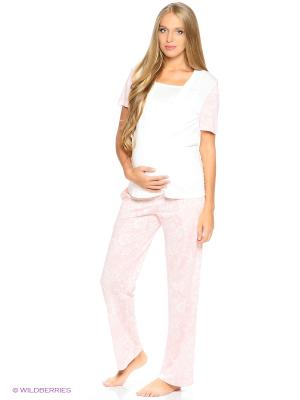 Пижама: футболка и брюки EUROMAMA. Цвет: розовый