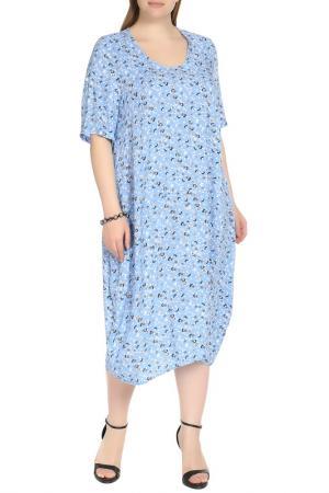 Платье-макси свободного покроя Shalle. Цвет: белый, голубой