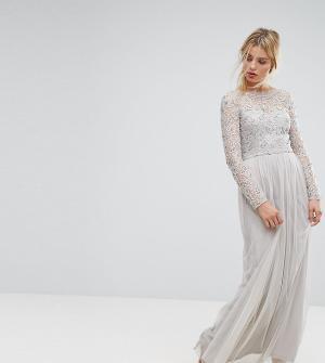 Amelia Rose Кружевное платье макси. Цвет: серый