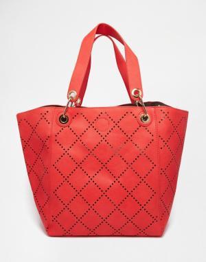 Urban Originals Перфорированная сумка для покупок. Цвет: коралловый