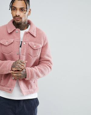 ASOS Розовая куртка в стиле вестерн из искусственной овчины. Цвет: розовый
