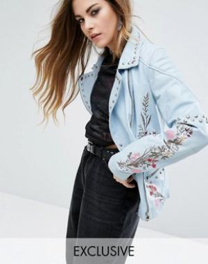 Rokoko Кожаная байкерская куртка с заклепками и цветочным узором Troph. Цвет: синий