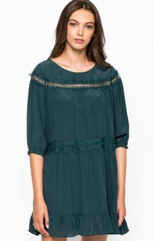 Шелковое платье свободного кроя Liu Jo. Цвет: зеленый