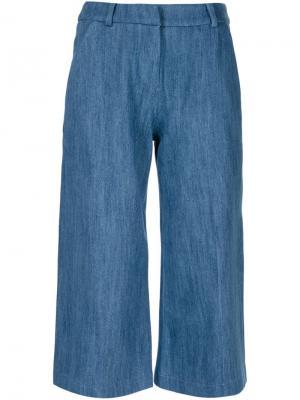 Укороченные джинсовые брюки Atea Oceanie. Цвет: синий
