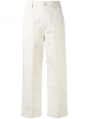 Укороченные брюки прямого кроя Golden Goose Deluxe Brand. Цвет: телесный