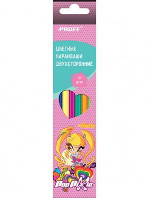 Карандаши 12 цветов двухсторонние PROFF. Цвет: розовый