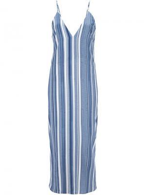 Полосатое платье миди Rue Sam & Lavi. Цвет: синий