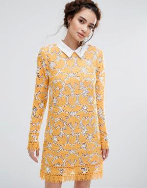 Endless Rose Кружевное платье мини с длинными рукавами. Цвет: желтый