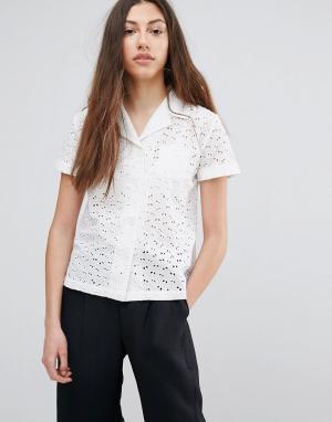 YMC Рубашка с вышивкой ришелье. Цвет: белый