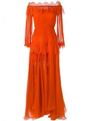 Длинное платье Ralu с кружевными панелями Maria Lucia Hohan. Цвет: жёлтый и оранжевый
