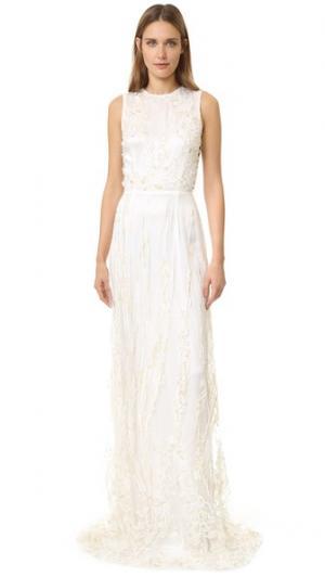 Вечернее платье без рукавов Rodarte. Цвет: белый/золотистый