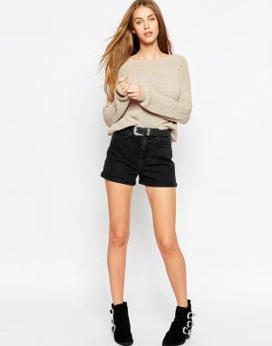 ASOS Черные выбеленные джинсовые шорты Mom. Цвет: черный