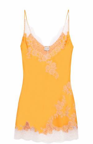 Шелковая сорочка с контрастной кружевной отделкой Carine Gilson. Цвет: оранжевый