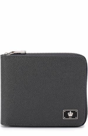 Кожаное портмоне на молнии с отделениями для кредитных карт и монет Dolce & Gabbana. Цвет: темно-серый