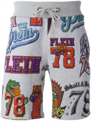 Спортивные шорты с графическим принтом Philipp Plein. Цвет: серый