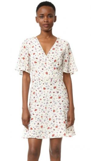 Шелковое платье с комбинированным принтом The Kooples. Цвет: голубой
