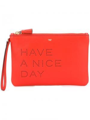 Клатч Have A Nice Day Anya Hindmarch. Цвет: красный