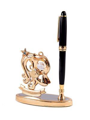 Подставка под ручку - знак зодиака Водолей CRYSTOCRAFT. Цвет: золотистый, черный