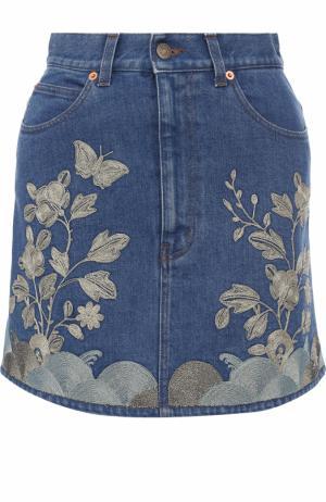 Джинсовая мини-юбка с контрастной отделкой Gucci. Цвет: голубой