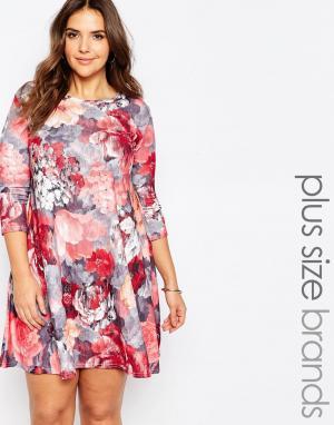 Praslin Свободное платье размера плюс с цветочным принтом. Цвет: мульти