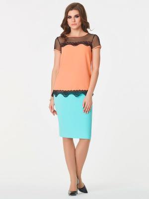 Блузка Be cara. Цвет: черный, персиковый