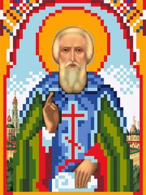 Рисунок на шелке именная икона Святой Сергий Радонежский Матренин Посад. Цвет: зеленый, синий
