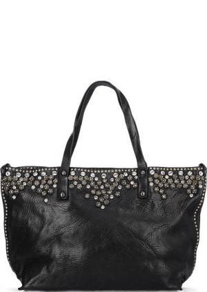Вместительная кожаная сумка с декором Campomaggi. Цвет: черный