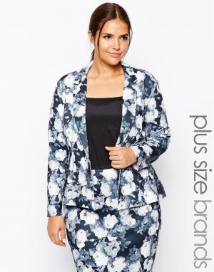 Lipstick Boutique Plus Пиджак с монохромным цветочным принтом. Цвет: мульти