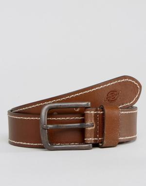 Dickies Кожаный ремень с контрастной строчкой Branchville. Цвет: коричневый