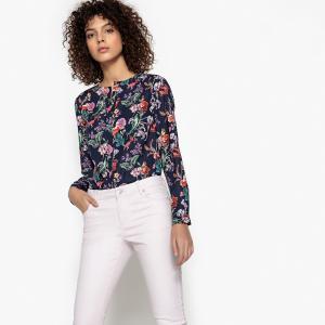 Блузка с V-образным вырезом, цветочным рисунком и длинными рукавами SEE U SOON. Цвет: красный наб. рисунок,синий/наб. рисунок