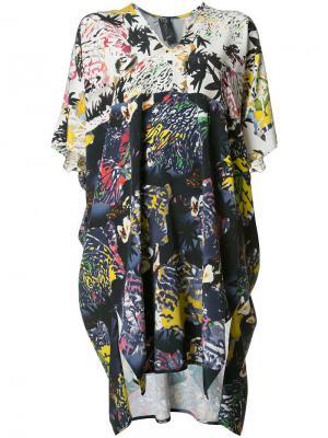 Платье шифт с абстрактным принтом Zero + Maria Cornejo. Цвет: многоцветный