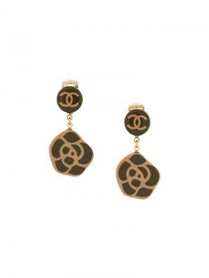 Клипсы-подвески в форме камелий Chanel Vintage. Цвет: зелёный