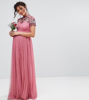 Maya Maternity Платье макси с отделкой на кокетке и короткими рукавами. Цвет: фиолетовый