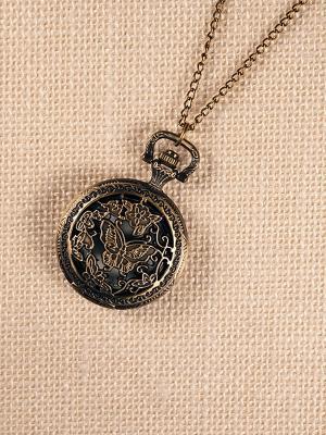 Кулон-часы Бабочка среди цветов (средний) Mitya Veselkov. Цвет: бронзовый