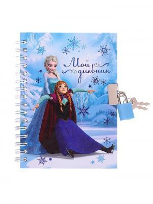 Записная книжка на замочке Мой дневник, Холодное сердце, 50 листов Disney. Цвет: синий, лазурный, персиковый