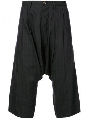 Полосатые брюки с заниженным шаговым швом Ziggy Chen. Цвет: чёрный