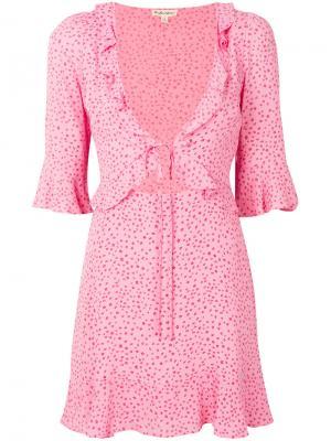 Nostalgic tie-front dress For Love And Lemons. Цвет: розовый и фиолетовый