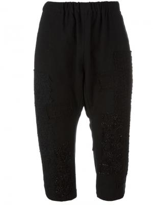 Укороченные декорированные брюки By Walid. Цвет: чёрный