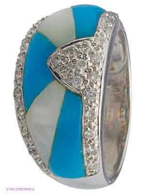 Кольцо JV ДЖЕЙ ВИ. Цвет: серебристый, бирюзовый