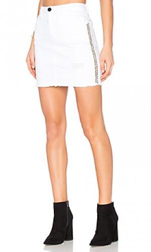Мини юбка со стразами Etienne Marcel. Цвет: белый