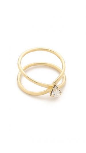 Кольцо с кристаллом Aurora Lady Grey. Цвет: золотистый/прозрачный