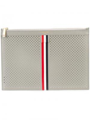 Small Zipper Tablet Holder (29.5x20Cm) With Red, White And Blue Vertical Stripe In Perforated Pebble Grain & Calf Leather Thom Browne. Цвет: серый