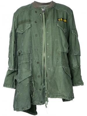 Асимметричная куртка Greg Lauren. Цвет: зелёный