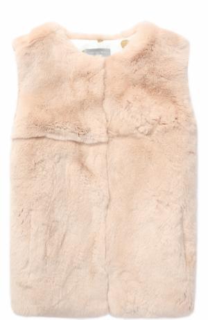 Меховой жилет Yves Salomon Enfant. Цвет: светло-розовый