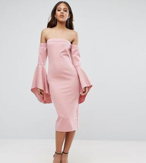 Taller Than Your Average Платье миди с открытыми плечами и рукавами клеш TTYA BLACK. Цвет: розовый