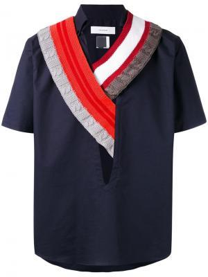 Рубашка с трикотажный воротником Facetasm. Цвет: синий