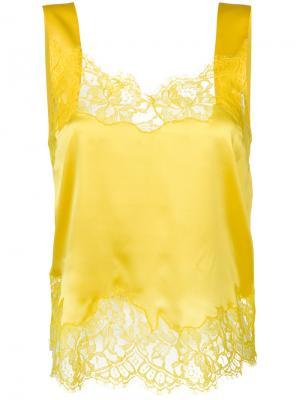 Топ с кружевной отделкой Givenchy. Цвет: жёлтый и оранжевый